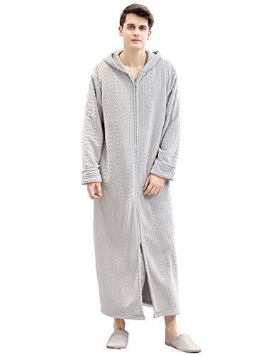 Honour Fashion 着る毛布 メンズ レディース ロング フード付き ルームウェア パジャマ 着るブランケット もこもこ あったか 防寒 グレー M