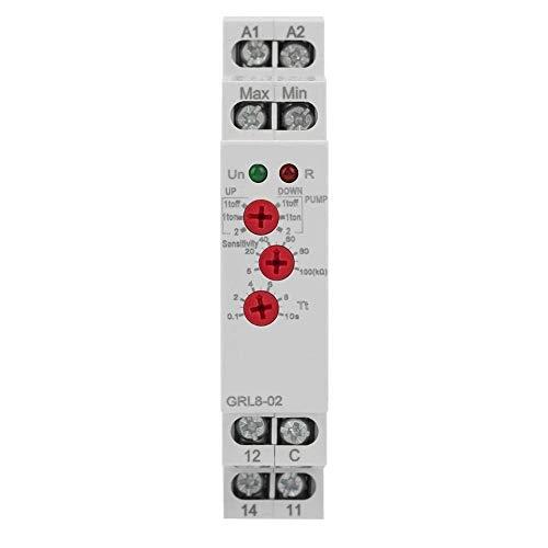 GRL8-02 Relé para control de nivel de líquido Controlador de nivel de agua para tanque de piscina con soporte de carril DIN para monitorear el nivel de líquido