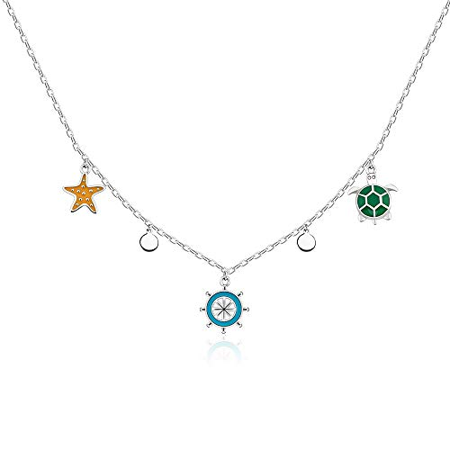 Dainty Choker Necklace Sea Turtle Star Compass Ocean Theme Pendant Kids Jewelry 925 Adjustable Sterling Silver Chain Jewelry Gift Cute Necklace For Teen Girls Birthday Anniversary Party((17+2'')
