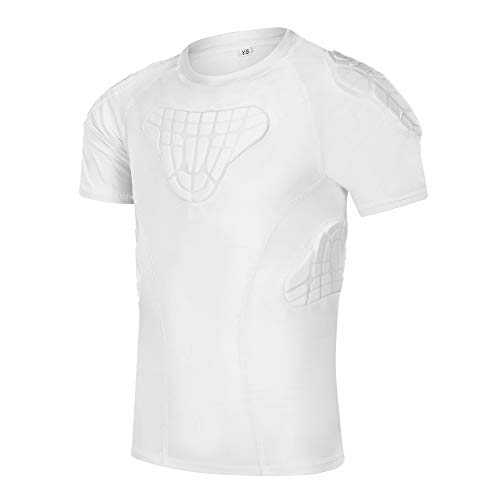 TUOYR Padded Shirt Youth Boys Padded Compression Sports Protective T-Shirt Rib Chest Protector Extreme Exercise (White Padded Shirt, Y-S(Chest 25inch~26.5inch))