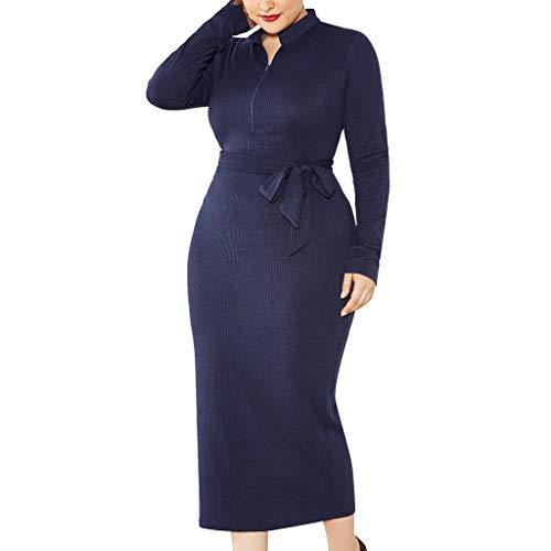 LOPILY Kleider Damen Figurbetonte Abendkleider Große Größen mit Schleife Gurtel Elegant Sexy Cocktailkleid für Mollige 52 50 Strickkleid Herbst Winter Langarm Partykleid (Marineblau, 52)