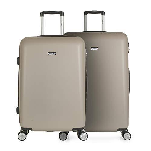 ITACA - 3er Hartschalen Kofferset 66/76 cm ABS. 4 Rollen. Robuster und Leichter. Hängeschloss. Mittlere und große. T58016, Color Champagner