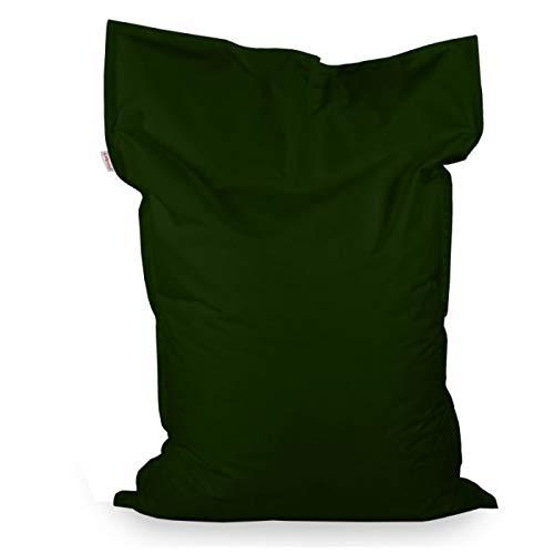 Italpouf Pouf Poire Rectangulaire pour Enfant XL Vert foncé 98x135 cm 220l Rembourrage en Billes de polystyrene Outdoor