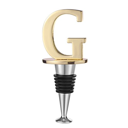Wine and Beverage Bottle Stopper With Gold Finish (Letter G)