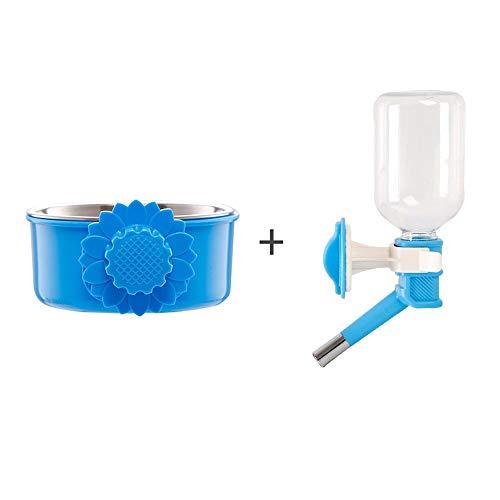 Botella de Agua Bebedero Colgante Jaula,a Prueba de Fugas,con Pet Bowl,para Gato Perro Cachorro Conejo Dispensador de Agua con Bola de Acero Animal Pequeño Mascota,330ML (Color : Blue, Size :