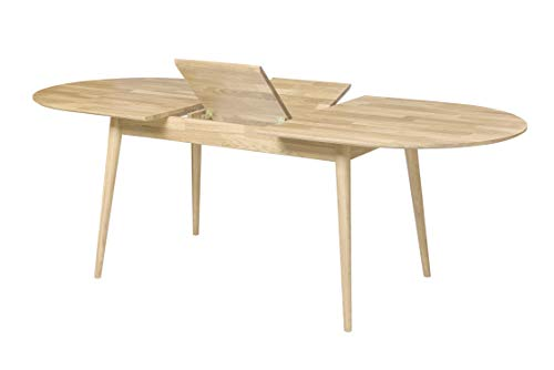 NORDICSTORY Escandi 2 Mesa de Comedor Nordica Extensible Libro 170-210 cm de Madera Maciza Roble, Ideal para Cocina Salon Terraza, Muebles Estilo Nordico, Color Natural Blanqueado