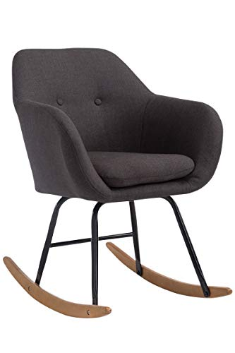 CLP Schaukelstuhl Avalon, Stoff-Sitz, Schaukelsessel mit Metall-Gestell, Relaxsessel mit Holzkufen, Dunkelgrau