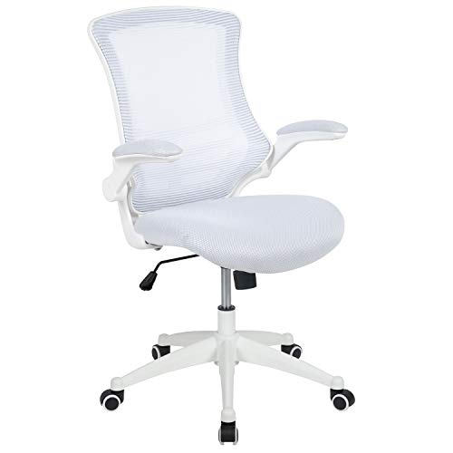 Flash Furniture Mid-Back White Mesh Swivel Ergonomic Task Office Chair with White Frame and Flip-Up Arms