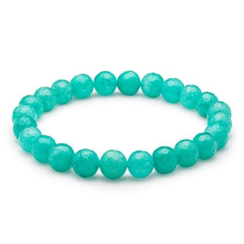 Pulsera Jade para Mujer | Joyas de Cuentas de Piedras Preciosas de 8 mm | Sanación Espiritual | Goma Elástica | Idea de Regalo