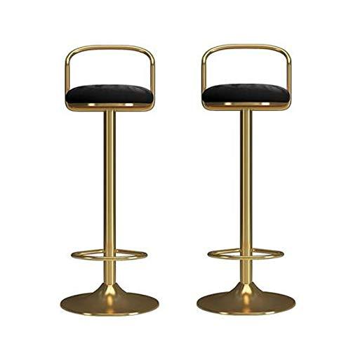 Taburetes de bar Taburetes de barras Conjunto de 2/4, taburetes de bar de terciopelo para cocinas, sillas de barras Barra de altura ajustable Taburete con respaldo y reposapiés Taburetes de Barra de D