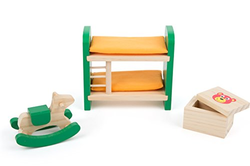 Small Foot 10871 Puppenmöbel aus hochwertigem Vollholz für das Kinderzimmer im Puppenhaus Spielzeug