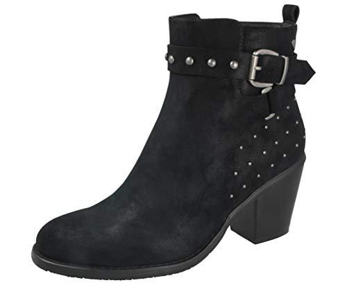 Yinka Shoes Botas de tobillo Chelsea de piel sintética con hebilla y tacón alto, tallas 38 a 40 (37 Reino Unido, negro) (Ropa)