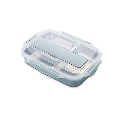HMGANG Lunch Box Acero Inoxidable 304 Caja de Almuerzo con Cuchara Almuerzo a Prueba de Fugas Cajas de Bento Bento Set Microondas Adulto Niños Comida Contenedor (Color : Small Blue with Bag)