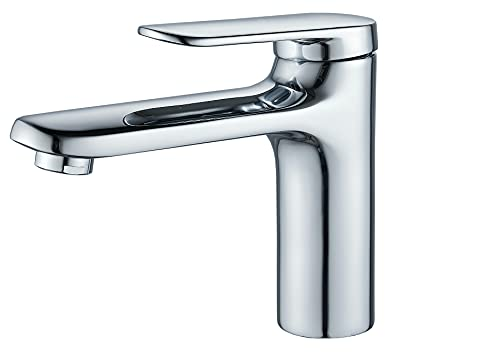 Grifo de lavabo Latón, Cromado.Grifo para baño, Agua Fría y Caliente, Mezclador Monomando para Lavabo