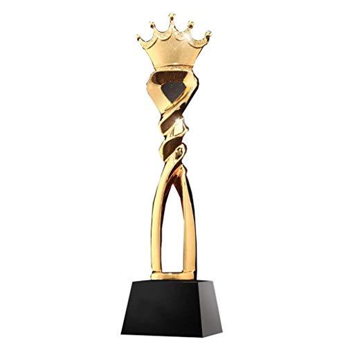 PLEASUR Trofeo Corona Cristal Trofeo Creativo Equipo de Resina Campeón Trofeo Trofeo de Metal, Decoración (Color: Oro, Tamaño: 32 * 8 * 8 cm)