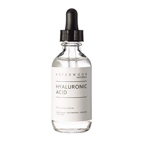 Hyaluronic Acid Serum 2 oz, 100% Pure Organic HA, Anti Aging Anti Wrinkle, Original Face Moisturizer for Dry Skin and Fine Lines, Leaves Skin Full and Plump ASTERWOOD NATURALS Dropper Bottle