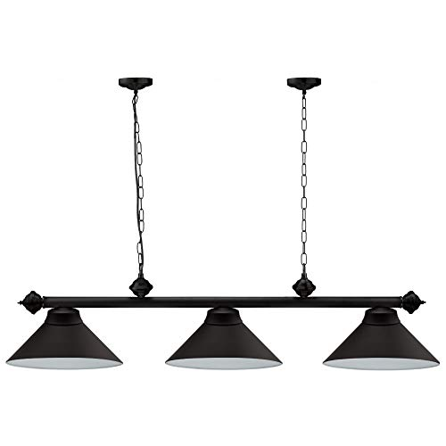 Billiard Table Lights for 7ft/8ft Pool Tables. Hanging Billiard Lighting with 3 Metal Lamp Shades for Game Room, Beer Party and Pub Bar - (Several Colors Available) (Black)