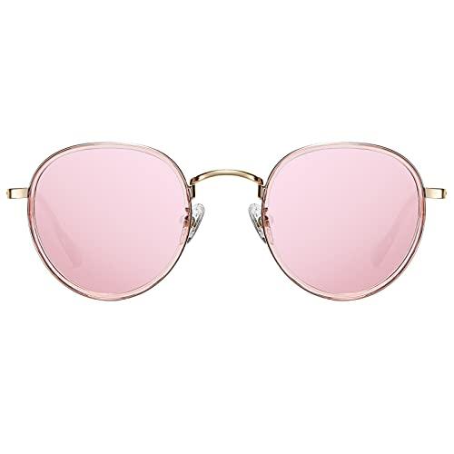 H HELMUT JUST Gafas de Sol Mujer Redondas Polarizadas Vintage Rosa Tipo Espejo Lente Anti Reflejos
