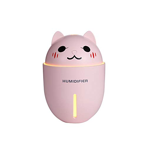Cute Pet Humidifier Creative Gifts 3-in-1 Multifunción USB Dekstop Difusor Cartoon Cat Humidificador de Aire con Ventilador Lámpara de Mesa-Rosado