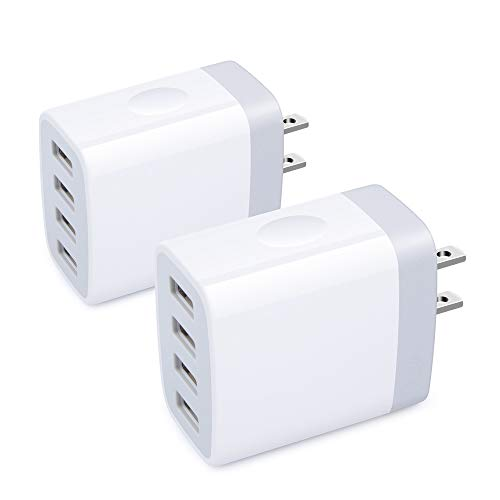 USB Wall Charger,Sicodo 4 Ports Charger Cube 2 Pack 4.8Amp USB Adapter Power Plug Charging Station Box Compatible with iPhone 11/X/8/7,Samsung Galaxy S10,S10+,S9,S8,S7 Edge and Other USB Plug Devices