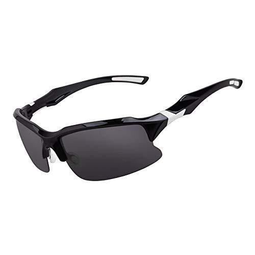 Gafas Ciclismo Hombres y mujeres polarizó los vidrios de deportes al aire libre de los vidrios del espejo UV Ocio Deportes Montar los vidrios de peso Ligero a Prueba de V ( Color : Black and white )