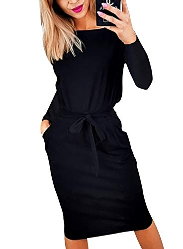 PRETTYGARDEN Women's 2047 Casual Long Sleeve Party Bodycon Sheath Belted Dress with Pockets Black