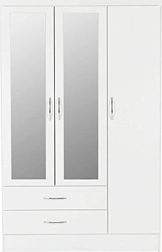 Madera nórdica deslizamiento ropero puerta colgando minimalista moderna casa pequeña de dos dormitorios con capacidad puerta del armario espejo de cuerpo entero,White