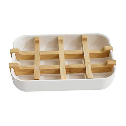 Seifenschale Bambus, Tragbar Auslaufsicher Bambus Seifenkiste Seifenhalterung, Natürliche Handarbeit Bambusfaser Seifenhalter, Moderner Abnehmbar Seifenablage Für Küche Bad Waschbecken Deck (Weiß)