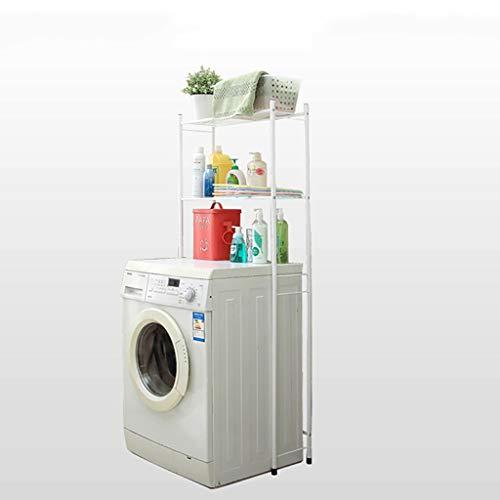 Machine shelf Baño balcón piso de hierro forjado tambor doble lavadora estante estante de almacenamiento multifuncional estante de almacenamiento estante Color: blanco Tamaño: 64.5 * 21 * 154 cm estan