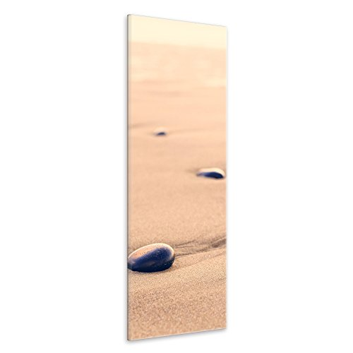 malango® Leinwandbild Sand Steine Panorama Fotoleinwand handgefertigt Wanddekoration Wellness Oase Kunstdruck Bild Foto Wanddesign 30 x 90 cm