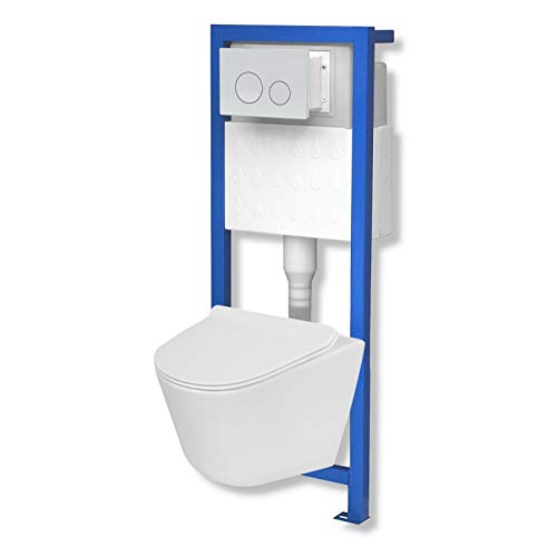 Domino Lavita Vorwandelement inkl. Drückerplatte + Wand-WC Galve ohne Spülrand + WC-Sitz mit Soft-Close Absenkautomatik Drückerplatte OW (weiß)