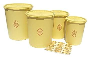 Vintage Tupperware Servalier Canister Set of 4 Harvest Gold