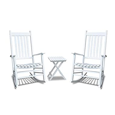 Caymus White Solid Hardwood Outdoor Rocking Chair Country Plantation Porch Rocker Provide Comfortable Seating on Patio or Deck Set of 3