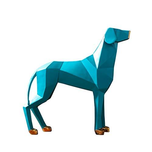 Escultura de escritorio Nordic Origami Dog Decoration Moderno y sencillo salón TV Gabinete Decoración Decoración (Color : Blue)