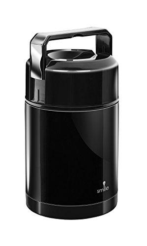 Contenitore Termico Sottovuoto in Acciaio Inox da 1 Litro, Scaldavivande per Alimenti, a Tenuta Stagna, Nero
