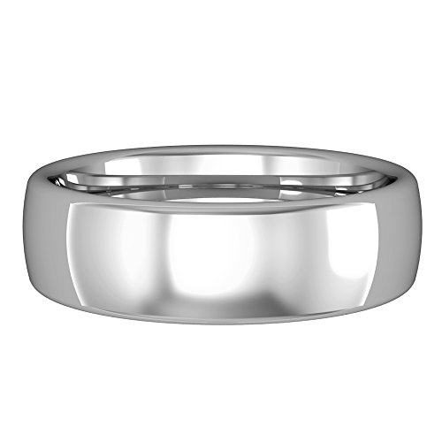 Jewelco Europa Oro Blanco 18k Comodidad Convexo anillo bodas 6mm