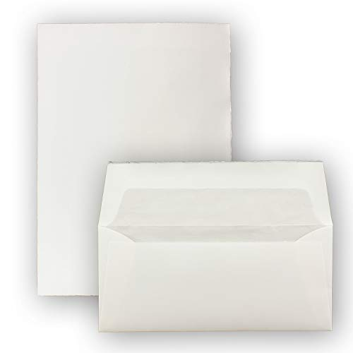 Briefset aus ECHTEM BÜTTENPAPIER - 24-teilig - DIN A4 Bogen + DIN Lang Umschläge gefüttert - Weiß