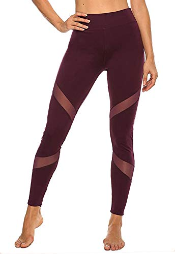 FITTOO Mallas Leggings Mujer Yoga de Alta Cintura Elásticos y Transpirables para Yoga Running Fitness A-Rojo Large