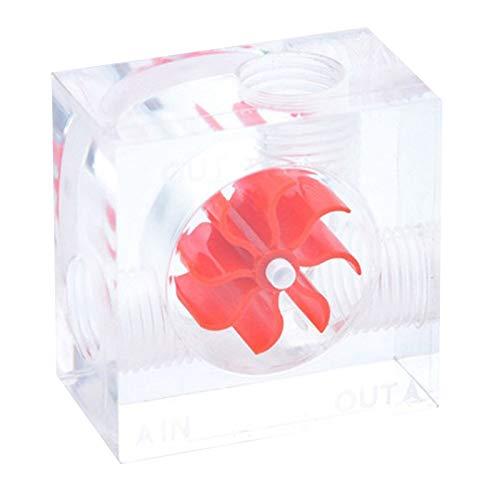 Fltaheroo PC AcríLico PC Computadora Flujo de Enfriamiento de Agua G1 / 4 Hilo Indicador de Medidor de Flujo de Agua de 3 VíAs Caudal de LíQuido FríO Rojo