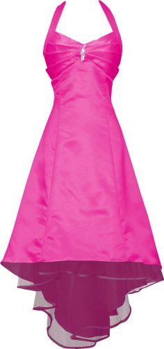 Satin Halter Dress Prom Bridesmaid Holiday Junior Plus Size, Medium, Fuchsia