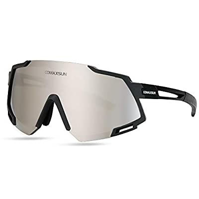 COMAXSUN Polarized Sports Sunglasses with 5 Interchangeable Lenses,Mens Womens Cycling Glasses,Baseball Running Fishing Golf Driving Sunglasses (Black)