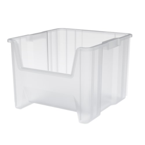 Akro-Mils 13018 Stack-N-Store Heavy Duty Stackable Open Front Plastic Storage Container Bin, (17-1/2-Inch x 16-1/2-Inch x 12-1/2-Inch), Clear, (2-Pack)