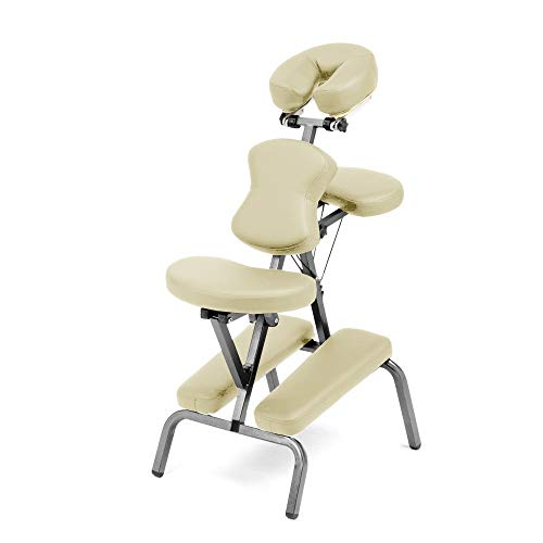 Ataraxia Deluxe Portable Folding Massage Chair w/Carry Case & Strap - Beige