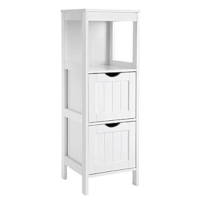 VASAGLE Floor Cabinet Multifunctional Bathroom Storage Organizer Rack Stand, 2 Drawers, White