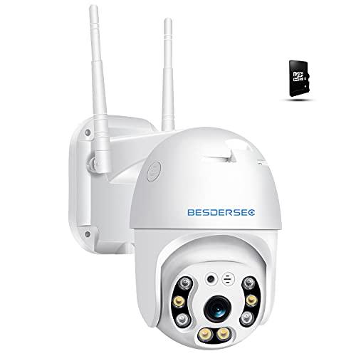 Camara Vigilancia WiFi Exterior con Tarjeta 64G, 3MP Camara IP WiFi Exterior Impermeable IP66 con Audio de Dos Vías,Visión Nocturna 60M en Color Detección de Movimiento