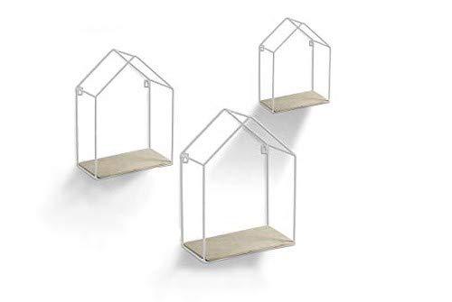 Gicos Set 3 mensole bacheca in Metallo Bianco Forma casetta con Ripiani in Legno Shabby Chic 20 * 10 * 30/25 * 15 * 36/30 * 20 * 43 cm SPQ-751738