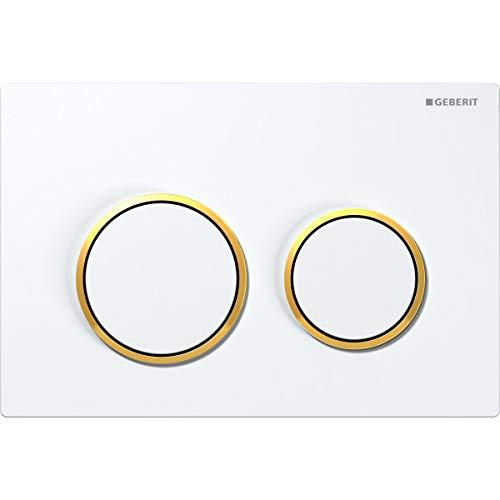 Geberit 115085KK1 Abdeckplatte Omega 20 115.085.KK.1 2-Mengenspülung Gold-Hochglanz/Weiss
