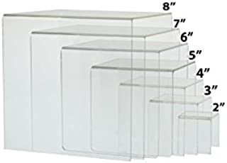 Marketing Holders Risers Clear Plexiglass Lucite Acrylic Display Riser Set of 7 Display Stand Set Crystal Clear