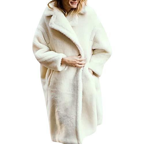 SMILEQ Ropa de Abrigo para Mujer Color Puro Manga Larga Cordero Solapa de Pelo Abrigo cálido Chaqueta Casual de Felpa Abrigo Suelto (S, Blanco)