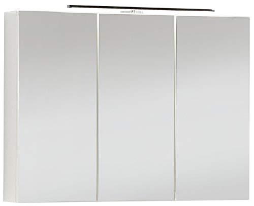 FACKELMANN Spiegelschrank VADEA/Badschrank mit 3D Effekt/Soft-Close-System/Maße (B x H x T): ca. 90 x 68 x 16 cm/Schrank fürs Bad mit Spiegel & LED-Beleuchtung / 3 Türen/Korpus: Weiß